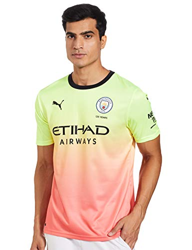 PUMA Herren MCFC FC Third Shirt Replica SS Trikot, Fizzy Yellow-Georgia Peach, L