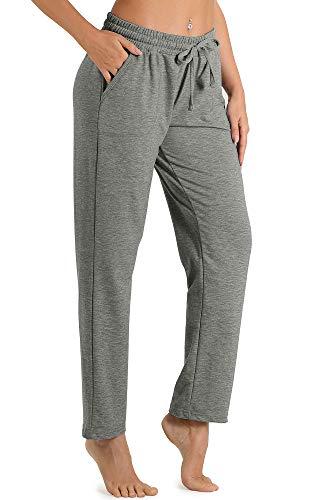 icyzone - Pantalón largo de chándal para mujer, estilo informal, con cordón gris XL