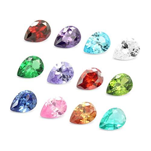 TOYMYTOY 12 piedras preciosas de circonita con forma de gota, piedras preciosas decorativas para joyas, artesanía, decoración (color surtido).