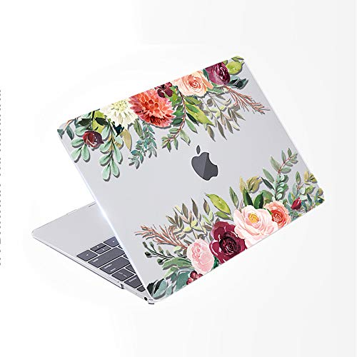 SDH Only Compatible Older MacBook Pro 13 Inch Case Model A1278 CD-ROM Early 2012-2008 Release, Plastic Pattern Hard Shell & Laptop Sleeve Bag & Gradient Keyboard Cover, Flower World 1