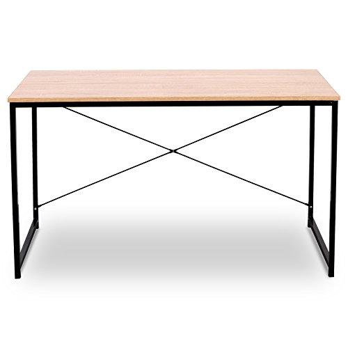 eSituro Muebles de Oficina Mesa de PC Escritorios de Ordenador Trabajo de Madera y Acero, con Estante 120 x 60 x 70cm Roble Brillante SCD0033