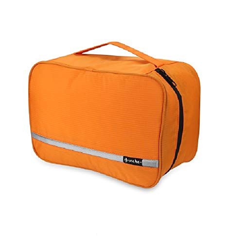 Hanging Toiletry Bag Waterproof, Jiemei Travel Wash Bag for Men & Women with 4 Compartments, Foldable Compact Size, Super Durable Fabric (L, Orange)