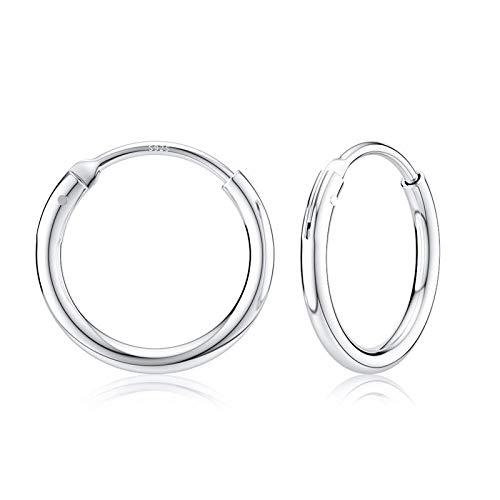 Pendientes de aro 925 Pendientes grandes de plata para mujeres y hombres Pendientes de clip de joyería Pendientes de hueso Hebilla de20 mm