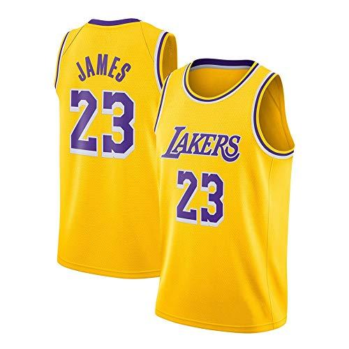 WANLN Lebron James #23 Camiseta de Baloncesto para Hombres - NBA Lakers Camiseta de Jugador de Básquetbol Bordado Transpirable y Resistente al Desgaste Camiseta de Fan de Hombres,Amarillo,S