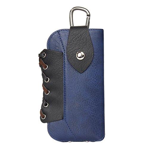 HuaForCity Mini Borsa del Telefono 5.5inch con Ganci Borsetta PU Pelle per Cellulare per il Regalo di Viaggio Sportivo Blu