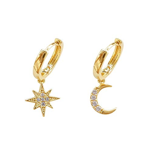 CZ Moon Star Dangle Small Hoop Earrings for Women Girls Sterling Silver Charms Crystal Asymmetrical Snowflake Crescent Drop Mini Cartilage Clip Jewelry Delicate Fashion Birthday Gifts (Gold Plated)