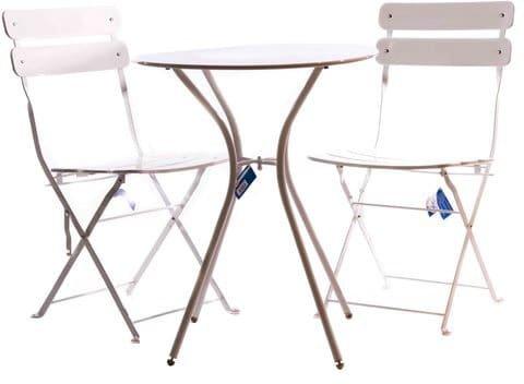 Amicasa. Tavolo Sedie da Giardino Set 3 pz Tavolo + 2 Sedie Bianco JD021 Birky