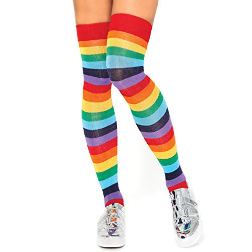 Leg Avenue Costume Accessories's Rainbow Pride Festival Thigh Highs Socks, Multi, ONE SIZE