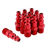 WYNNsky Color Fittings, 1/4''MNPT Air Plug, I/M Type-Red, 10 Pieces Air Compressor Accessories Fittngs