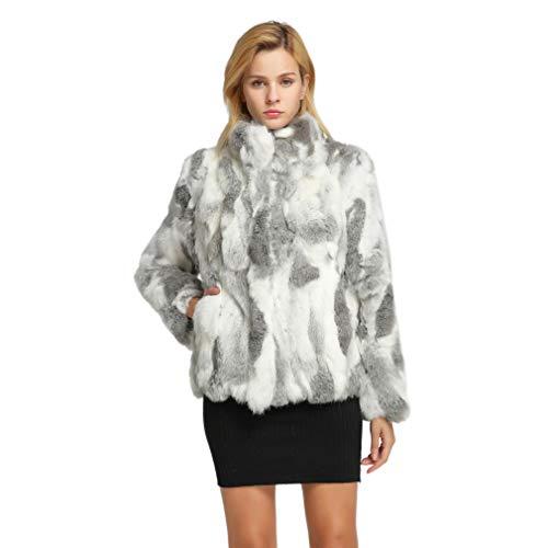Fur Story Women's Genuine Rabbit Fur Coat for Winter Thick Warm Fur Jacket (Nature Gray, 10)
