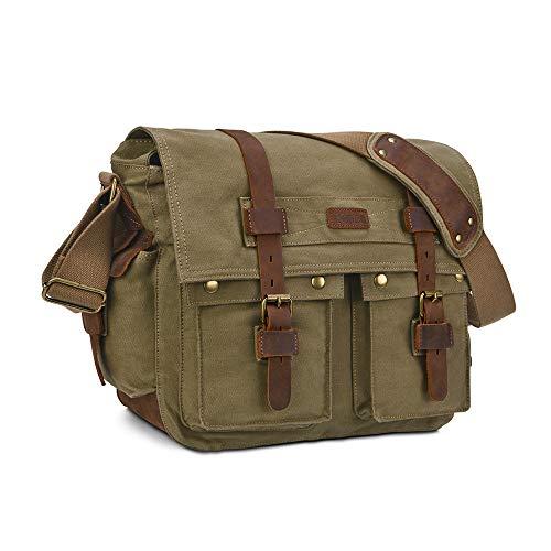 Kattee Unisex Retro Leinwand Leder Messenger Schultertasche Passend für 37,3cm Laptop Grün Armee-grün Medium