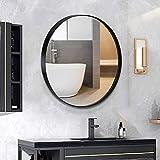 """ANDY STAR Round Mirror, 24'' Matte Black Round Mirrors in Stainless Steel Metal Frame 1"""" Deep Set Design"""