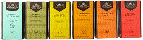 Harney amp Sons Variety Pack Premium Tea Bags 6 Flavors 20 Tea Bags Each Egyptian Chamomile English Breakfast Hot Cinnamon Spice Organic Peppermint Japanese Sencha Decaffeinated Ceylon