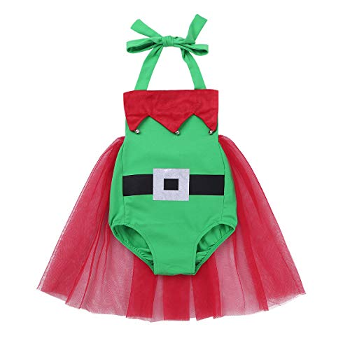YiZYiF Vestido Navidad Duende Bebés Niñas Disfraz Elfo Vestido Fiesta Rojo Bebés Traje Navideño Body con Falda Tutú Mono Christmas 1-3 Años Verde 12-18 Meses
