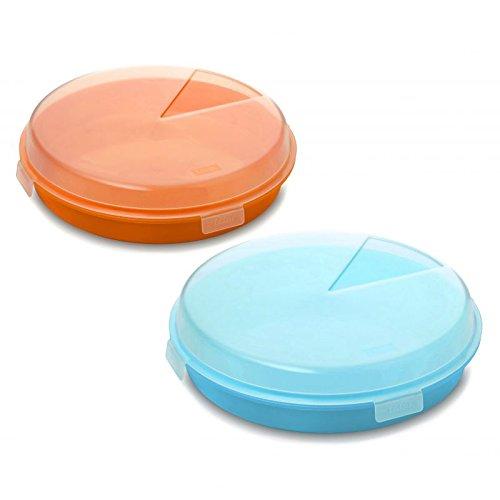 TATAY - Lotto di 2 Pratico Porta Torta / Frittata di 26 cm Diametro, en Colore in Turchese e Orange