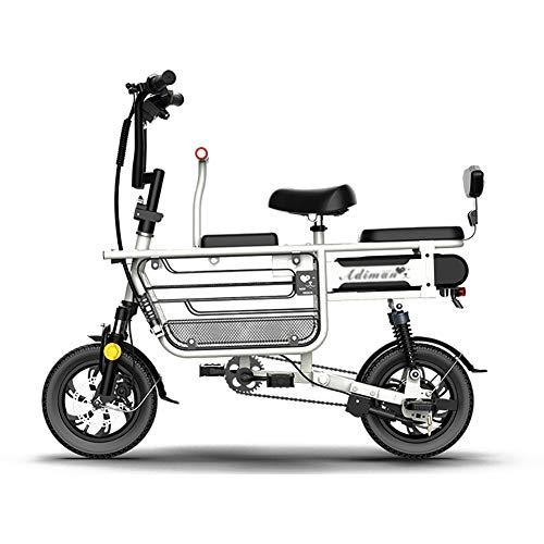 MSM Resistencia 180KM Bicicletas Electricas para Padre-niño,Batería De Litio Ebike para Tres Personas,Madre Y Niños Bicicleta Electrica Blanco 350w 48v 20ah
