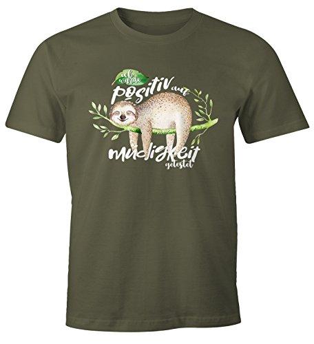 Preisvergleich Produktbild MoonWorks Herren T-Shirt Faultier Ich wurde positiv auf Müdigkeit getestet Sloth Fun-Shirt lustig Faulenzer Langschläfer Army XL