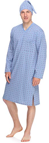 Timone Herren Nachthemd mit Schlafmütze TIDR5001 (Blau Kariert-2, M)