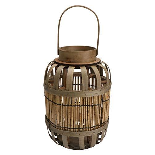 SOLUSTRE - Vela de bambú con farol de mimbre vintage, lámpara de mesa, lámparas decorativas para la casa al aire libre