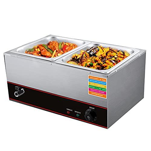 Servidor Compacto De Acero Inoxidable para Buffet De Alimentos Y Bandeja Calefactora con Control De Temperatura Ajustable Tapas Transparentes Y Asas Cool Touch Calentador De Alimentos