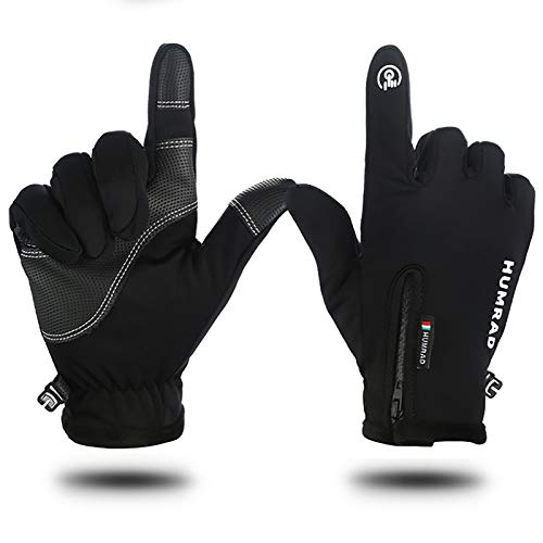 YLME 2 Pairs of Multifunction Gloves Warm Touch for Men and Women, Windproof - Waterproof - with Zipper, Bike - Motorcycle - Car Gloves,Black,S