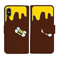 sslink Rakuten Hand 楽天ハンド 手帳型 ブラウン ケース ハチ ミツバチ ハニー ダイアリータイプ 横開き カード収納 フリップ カバー