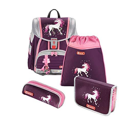 """Step by Step Schulranzen-Set Touch 2 """"Unicorn"""" 4-teilig, rosa/Beere, Einhorn-Design, ergonomischer Tornister mit Reflektoren, für Mädchen 1. Klasse, 21L"""