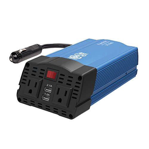 Tripp Lite 375W Compact Portable Car Power Inverter 2 Outlet 12V DC to 120V AC w/ 2-Port USB Charging Ports (PV375USB) BLACK/BLUE