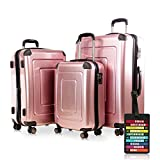 Happy Trolley - 3er Koffer-Set Trolley-Set Rollkoffer Hartschalen-Koffer Reisekoffer Lugano sehr leicht, TSA, (S, M & XL), Rosegold +HT Kofferanhänger