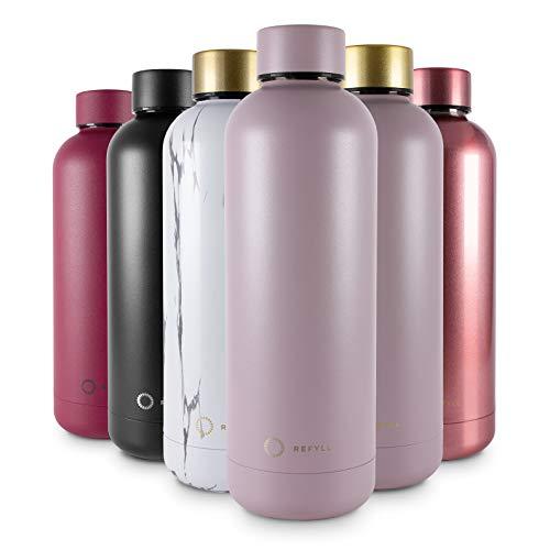 REFYLL Trinkflasche Edelstahl wonderFYLL - 500ml Thermosflasche - auslaufsicher, BPA frei - isolierte Wasserflasche, doppelwandige Isolierflasche(Taupe, 500 ml)