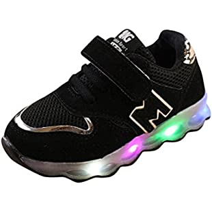 Dinglong Toddler Kids Mesh Breathable Colorful LED Light Up Shoes Boys & Girls Baby Luminous Sneakers, Child Sport Trainers for Age 1-6 Years (UK 5.5, Black)