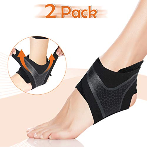 CHARMINER 2 Pack Ankle Support Brace, Ankle Compression Strap Wrap for Plantar Fasciitis,Protect Against Chronic Ankle Strain Sprain Fatigue,Foot Swelling Tendon Pain Relief for Men Athlete (LARGE)