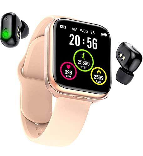 YHYABC Smart Watch Auriculares Bluetooth Auriculares Inalámbricos TWS - 2in1 HD Pantalla Grande Monitor de Presión Arterial de Frecuencia Cardíaca Smartwatch (Color : Pink)