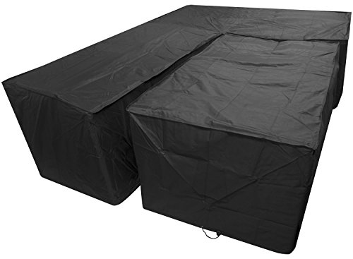 Woodside Black L Shape Outdoor Dining Patio Set Cover Medium Left Side Long
