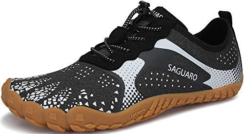 SAGUARO Minimalistyczne Buty Mężczyźni Kobiety Trail Running Shoes Antypoślizgowe Oddychające Buty Do Wody Lekkie Buty Boso na Siłownię Asfaltowy Trekking, Węgiel Negro 43 EU