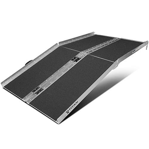 Titan Ramps Portable Wheelchair Ramp Multi Fold 5 ft Long x 30 in Wide 600 lb Capacity Anti-Slip for Home