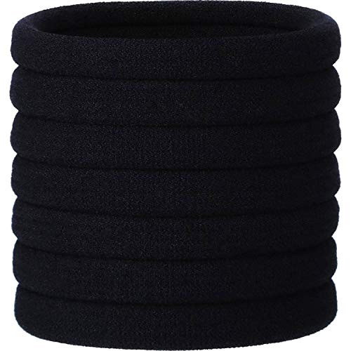 20 Pieces Large Stretch Hair Ties Hair Bands Ponytail Holders Headband for Thick Heavy and Curly Hair (Black, 5 cm in Diameter, 1 cm in Width)