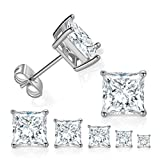 5 Pairs 18K White Gold Plated Princess Cut Clear Cubic Zirconia Stud Earring Pack