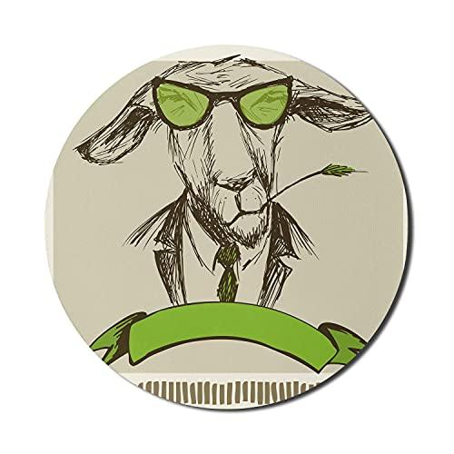 Modernes Mauspad für Computer, Hipster-Esel mit Gras auf Mund und Brille Skizze Illustration, rundes rutschfestes dickes Gummi Modernes Gaming-Mousepad, 8 'rund, blassfarnig grünbraun