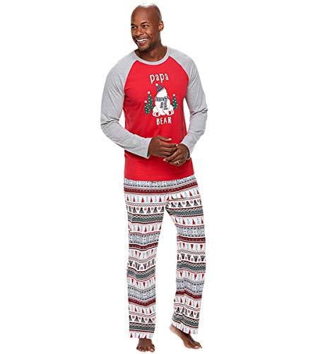 Pijamas Navidad Familia Conjunto Pijama Rayas Navideñas Noel de Reno Niños Hombre Mujer Niña Chica Bebe Ropa de Noche Homewear Pantalon Pijamas para Toda La Familia Sudadera Chándal Suéter XL