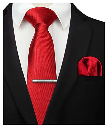 HISDERN Panuelo de corbata rojo solido para hombre Fiesta de bodas Corbata clasica y conjunto de bolsillo cuadrado