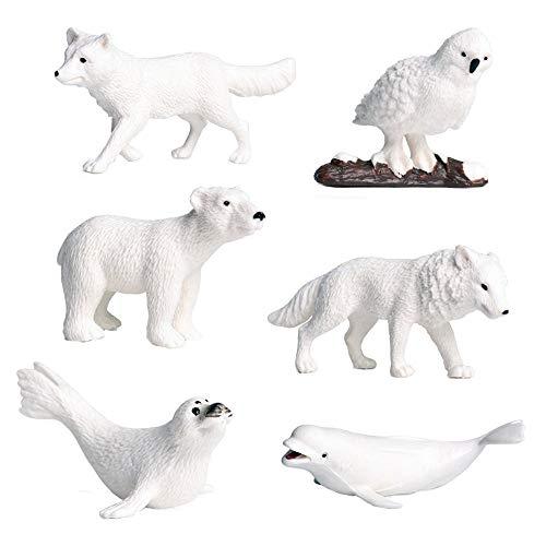 FLORMOON 6 Piezas de Figuras de Animales árticos Realistic Juguete Animal Animal Figure Early Educational Toys Science Project Christmas Birthday Gift for Kids