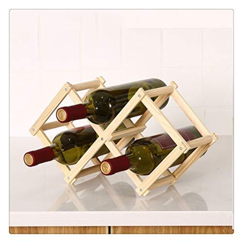 Aiglen Estantes de Vino de Madera Plegables Soportes para gabinete de Botellas Organizador de estantes de Madera Almacenamiento para Vitrina Retro (Color : 3 Bottles-Original)