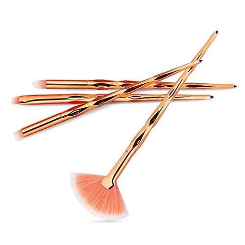 IFOUNDYOU 4Pc Pinceaux De Maquillage Mis En Poudre De Fondation Fard à PaupièRes Fard à PaupièRes Eyeliner Pinceau CosméTique
