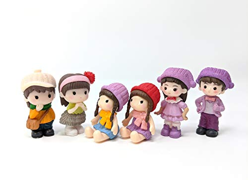 Cool Beans Boutique Miniature Figurines, set of 6 – Boys and Girls Dolls (ornaments for Miniature Dollhouse, Cake Toppers, Miniature Terrarium Decorations, or Miniature Garden)