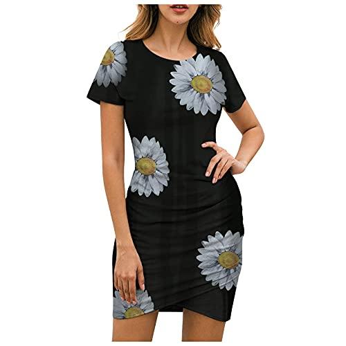 VCAOKF Luźna sukienka mini w kwiaty, wiązana na szyi, sukienka taneczna, z okrągłym dekoltem, na lato, okrągły dekolt, z nadrukiem, S M L XL 2XL