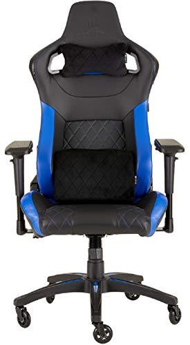 Corsair T1 Race - Fauteuil Gaming de bureau en similicuir, montage facile, ergonomique, hauteur réglable et accoudoirs 4D, confortable avec dossier inclinable - Noir/Bleu