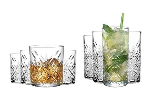 Pasabahce Glas Kristall 4x Whisky Gläser (250ml) und 4x Longdrink Gläser (250ml) als Set | für einen wunderbaren Cocktail Abend – Spülmaschinenfest