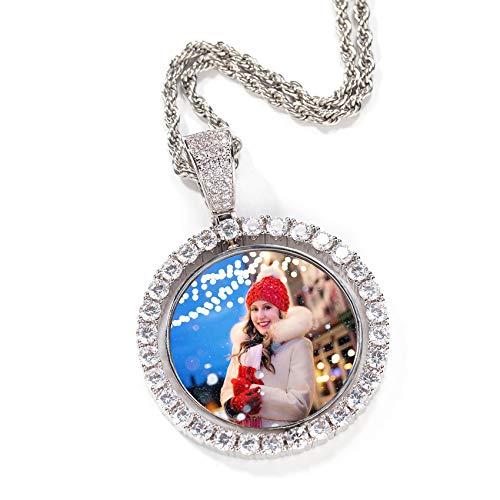 TheBigThumb Personalisierte Gravierte Foto Kupfer Halskette Kreative Foto Halskette Personalisierte Bilderrahmen Anhänger Geburtstag Weihnachten Jubiläum Kreative Unisex Silber reversibel-20(50cm)