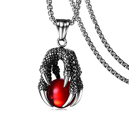 Heavstjer Punk Rock Stainless Steel Dragon Claw Pendant Crystal Ball Necklace,24inches Link Chain